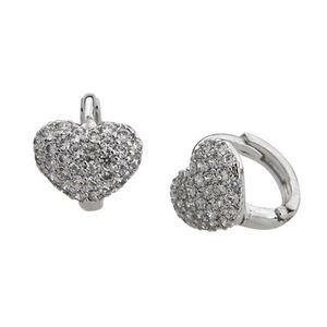 Quality Cubic Zirconia Heart Huggie Earrings,NWT